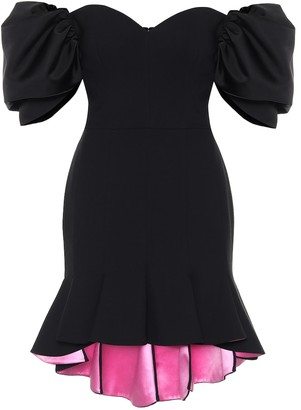 Alexander McQueen Off-shoulder wool-blend minidress