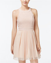 Trixxi Juniors' Bow-Back Pleated A-Line Dress