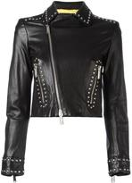 DSQUARED2 studded biker cropped jacket - women - Calf Leather/Polyester - 38