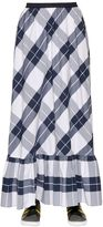 I'M Isola Marras Check Cotton Poplin Skirt W/ Ruffled Hem