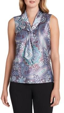 Tahari ASL Paisley-Print Tie-Neck Top