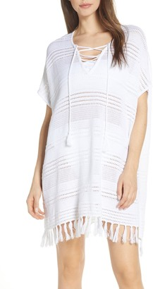 Tommy Bahama Stripe Lace-Up Linen Blend Cover-Up Sweater
