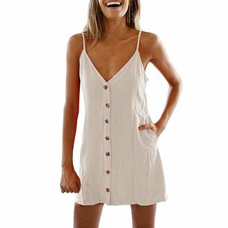 Toamen Women's Dress Toamen Dresses Sale Women's Casual Beach Summer Dress Solid Cotton Flattering A-Line Spaghetti Strap Button Down Midi Sundress(Mint Green 14)