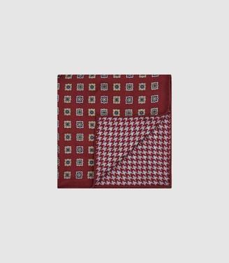 Reiss Pelle - Diamond Print Pocket Square in Rust