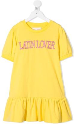 Alberta Ferretti Kids Short Sleeve Peplum Hem Slogan Dress