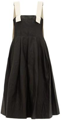 Lee Mathews Phoebe Contrast-strap Waxed-linen Apron Dress - Black
