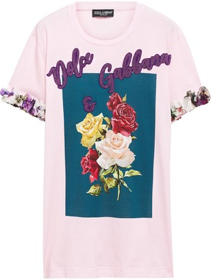 Dolce & Gabbana Appliqued Printed Cotton And Silk-blend Jersey T-shirt