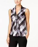 Nine West Sleeveless Plaid Tie-Front Blouse