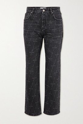 Balenciaga Printed High-rise Straight-leg Jeans - Black