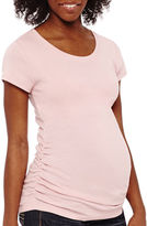 Asstd National Brand Maternity Short-Sleeve Ruched-Side Tee