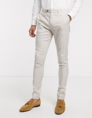 ASOS DESIGN wedding super skinny suit trousers in stretch cotton linen in stone