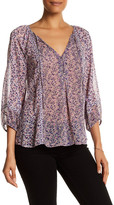 Joie 3/4 Sleeve Front Keyhole Printed Silk Blouse