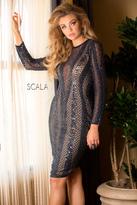 Scala 48728 Illusion V Neck Cocktail Dress