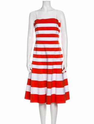 Oscar de la Renta Striped Knee-Length Dress Orange