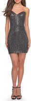 La Femme Sequin Strapless Sweetheart Short Dress