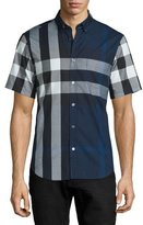 Burberry Exploded Check Short-Sleeve Shirt, Ink