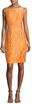 Carmen Marc Valvo Sleeveless Floral Jacquard Cocktail Dress, Tangerine
