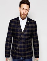 Noose & Monkey Tartan Double Breasted Blazer With Stretch And Gold Chain In Super Skinny Fit