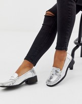 Asos DESIGN Marley 90's leather loafer flat shoes in silver