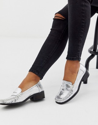 Asos Design DESIGN Marley 90's leather loafer flat shoes in silver