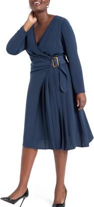 ELOQUII Buckly Long Sleeve Wrap Dress