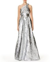 Carolina Herrera Metallic Jacquard One-Shoulder Gown, Blue Metallic