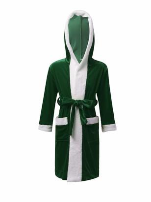 inlzdz Kids Girls Boys Hoodie Bathrobe Christmas Santa Claus Gown Sleepwear Nightgown Robe Xmas Elf Holiday Fancy Dress up Green 11-12 Years