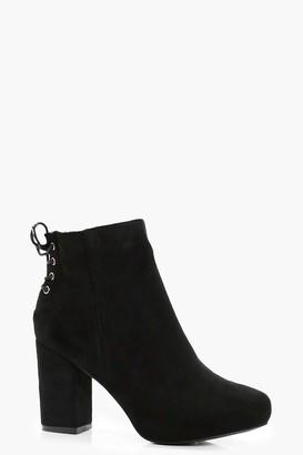 boohoo Lace Up Back Heel Shoe Boots