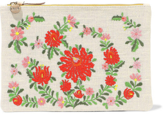 Clare Vivier Embroidered Canvas And Pebbled-leather Clutch