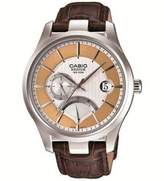 Casio Men's Beside Brown Genuine Leather Strap Silver-Tone Textured Dial