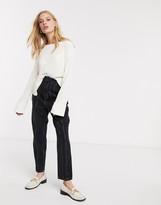 Weekday Danna round neck sweater in off-white
