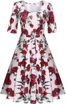 Meaneor Women's Retro Floral 3/4 Sleeve Vintage Swing Bridesmaid Dress,/XL