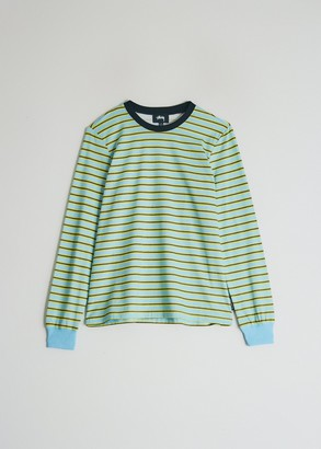 Stussy Women's Printed Stripe Long Sleeve T-Shirt in Blue, Size Extra Small | 100% Cotton