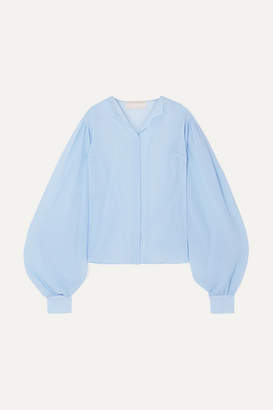 Antonio Berardi Cotton And Silk-blend Crepon Blouse - Sky blue