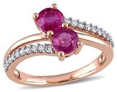 Allura .8 CT. T.W. Pink Sapphire and 1/5 CT. T.W. Diamond Double Row Ring in 10K Rose Gold