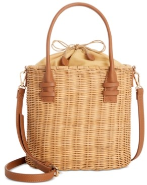 Alfani Rattan Bucket Tote, Created for Macy's