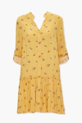 Forever 21 Floral Print Flounce-Hem Dress