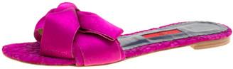 Carolina Herrera Fuchsia Pink Lace Bow Detail Flat Slides Size 39