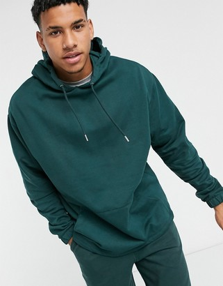 ASOS DESIGN co-ord organic oversized hoodie with fixed hem in green