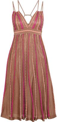 M Missoni Open-back Striped Metallic Crochet-knit Dress
