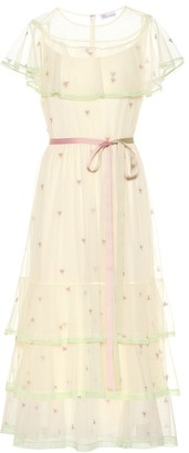 RED Valentino Embroidered tulle midi dress
