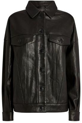 J Brand Leather Drew Trucker Jacket