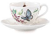 Lenox Butterfly Meadow Floral Porcelain Cup & Saucer Set