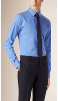 Burberry Slim Fit Stretch Cotton Blend Shirt , Size: 16, Blue