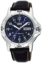 Lorus Rxn51bx9 Sports Day Date Leather Strap Watch, Black/navy