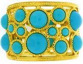Kenneth Jay Lane Gold Plated & Turquoise Resin Cabochons Cuff Bracelet Bangle