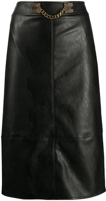 Elisabetta Franchi Chain-Embellished Faux-Leather Skirt