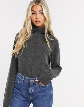 Selected knitted jumper with roll neck in grey