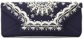 Oscar de la Renta Embroidered Satin Envelope Clutch