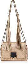 Jimmy Choo LOCKETT PETITE Dore Metallic Grainy Leather Shoulder Bag with Tassel Shoulder Strap
